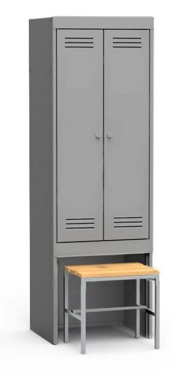 Seryy S Zakrytymi Dveryami Styazhka - Двухсекционный металлический шкаф гардеробный МПИ-126 (800) ВС