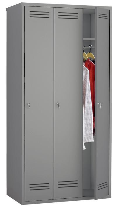 mpi 139900 novyy - Трехсекционный металлический шкаф гардеробный МПИ-138 (900)